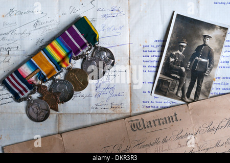 First World War medals and memorabilia.  SEE DETAILS IN DESCRIPTION. - Stock Photo