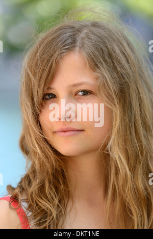 Europe, Switzerland, Zürich, young, girl, model released, blonde, long hair - Stock Photo