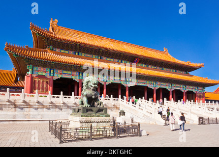 Male bronze lion in front of the Gate of Supreme Harmony Outer Court Forbidden City Beijing Peoples Republic of - Stock Photo