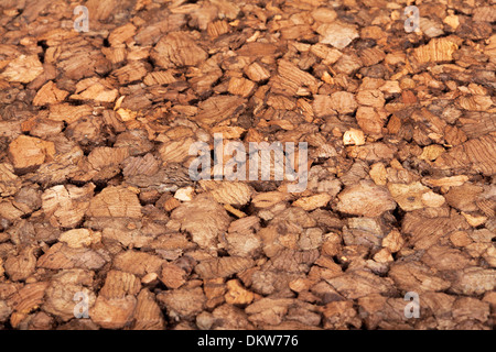 Pressed wooden chips, wooden background - Stock Photo