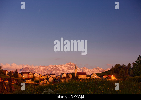 Switzerland Europe Alps mountain mountains canton AR Appenzell Ausserrhoden Alpstein Säntis Schwellbrunn AR sundown - Stock Photo