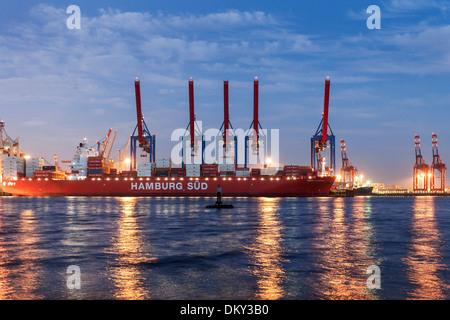 Elbe Beach at full moon, Altona, port of Hamburg, Hamburg, Germany - Stock Photo