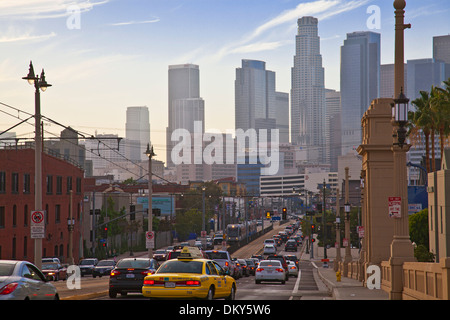 Los Angeles skyline from the 1st Street Bridge, California, USA - Stock Photo