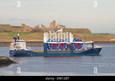 Cargo vessel Deo Volente leaving the river Tyne with cable or hose reels South Shields north east England, UK - Stock Photo