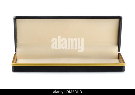 Open empty black jewelry box isolated on white - Stock Photo
