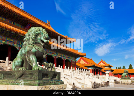 bronze lion outside the Gate of Supreme Harmony, Outer Court, Forbidden City, Beijing, Peoples Republic of China, - Stock Photo