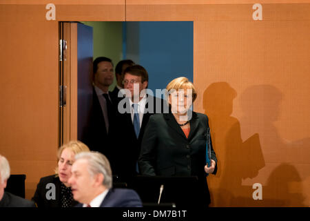 Berlin, Germany. December 12th, 2013. Chancellor Merkel and Interior Minister Friedrich meet with the Prime Ministers - Stock Photo