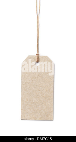 price tag on waxed cord from recycled paper, white background - Stock Photo