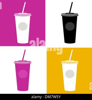 Plastic cup / glass icons - pink, black, yellow, white - Stock Photo