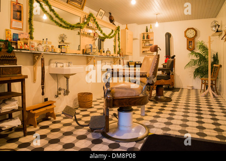 Old Barber Shop at Christmas, Burnaby Village Museum, Burnaby, British Columbia, Canada - Stock Photo