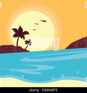 Summer & travel: silhouette of beach sunset - Retro - Stock Photo