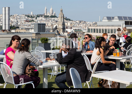 TERRACE OVER THE ROOFS OF PARIS AT THE PRINTEMPS STORE, PANORAMA OVER THE CITY OF PARIS, THE BIG CHAIN STORES, PARIS - Stock Photo