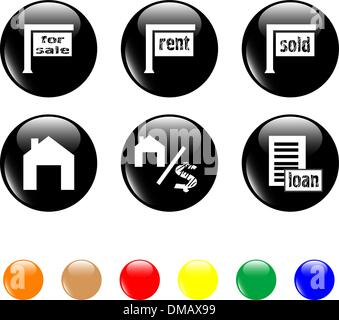 set of icon house sale home black button.vector - Stock Photo