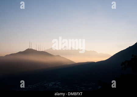 An early morning view of Cerro de la Silla from Chipinque in Monterrey, Mexico. - Stock Photo