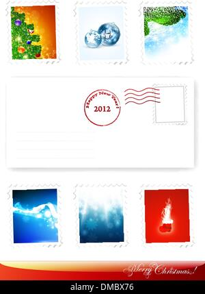 New Year and Christmas poststamps - Stock Photo