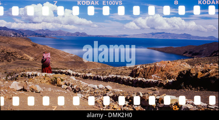 ISLA DEL SOL, THE LARGEST ISLAND ON LAKE TITICACA, ON THE BORDER WITH PERU, BOLIVIA, SOUTH AMERICA - Stock Photo