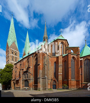 St. Mary's Church in Hanseatic city of Lübeck, Schleswig-Holstein, Germany - Stock Photo