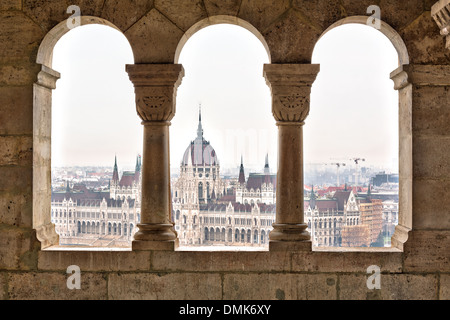 Parliament form Fisherman's Bastion, Budapest - Stock Photo