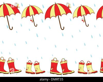 Illustration cute rain boots and umbrella seamless pattern - Stock Photo