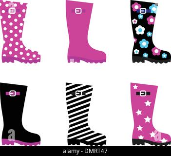Fresh & colorful rain wellies boots isolated on white - Stock Photo