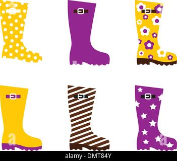 Wellington fashion boots isolated on white - yellow & pink - Stock Photo