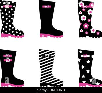 Retro patterned wellington rain boots isolated on white ( black, pink ) - Stock Photo