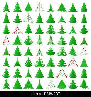 Christmas trees collection - Stock Photo