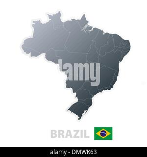 Brazil map with official flag - Stock Photo