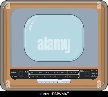 Vector illustration of an old TV set with wooden case - Stock Photo