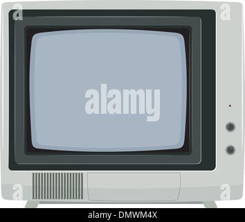 Vector illustration of an old TV set with plastic housing - Stock Photo