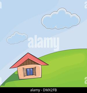 Vector illustration of a small house on the hill - Stock Photo