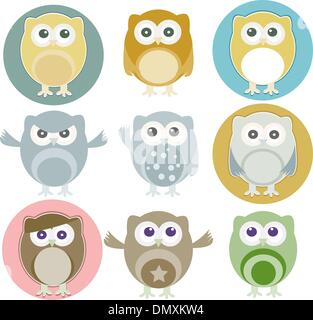 Vector illustration of colorful owls with nine color - Stock Photo