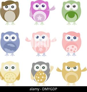 Set of nine cartoon owls with various emotions - Stock Photo