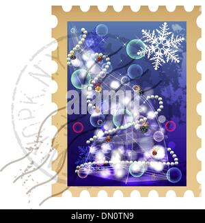 clip art christmas stamp - Stock Photo