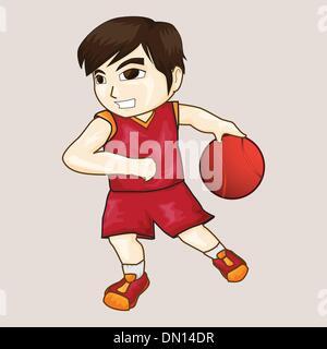 boy playing basketball vector - Stock Photo