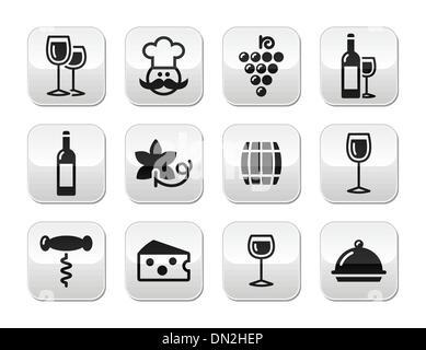 Wine buttons set - glass, bottle, restaurant, food - Stock Photo
