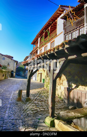 Streets typical of old world heritage village of Santillana del Mar, Spain - Stock Photo