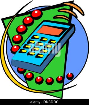 Isometric icon of calculator - Stock Photo