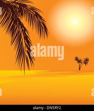 red sunset and palm on the beach - Stock Photo