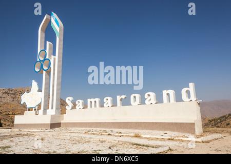 Samarqand sign, Samarkand, Uzbekistan - Stock Photo