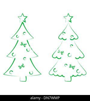 Christmas set trees with decoration, stylized hand drawn - Stock Photo