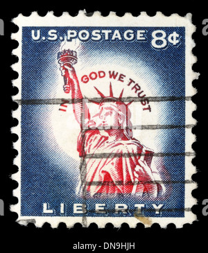 USA - CIRCA 1958: A postage stamp printed in USA, shows one of the symbols of America, Statue of Liberty, circa - Stock Photo