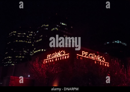 P F Changs restaurant in Woodland Hills California with Warner Center high rises in the background - Stock Photo