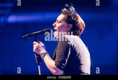 Berlin, Germany. 12th Dec, 2013. Former singer of Rosenstolz AnNa R. performs during the concert of band 'Gleis - Stock Photo