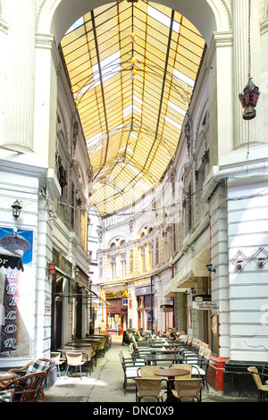 Macca-Vilacrosse passage, a fork-shaped, covered pedestrian arcade street in Bucharest, the capital of Romania. - Stock Photo