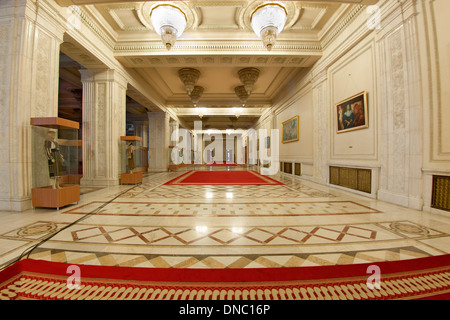 One of numerous halls in the Palace of the Parliament in Bucharest, the capital of Romania. - Stock Photo