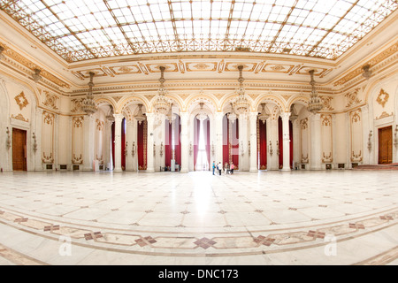 One of the numerous halls in the Palace of the Parliament in Bucharest, the capital of Romania. - Stock Photo