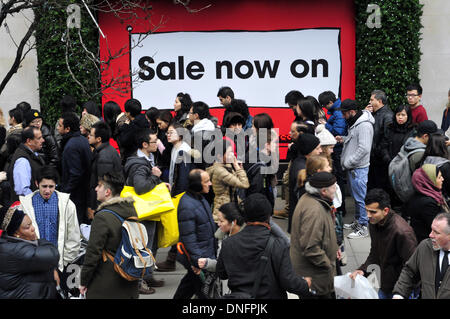Shoppers in Oxford street on Boxing day, London, UK - Stock Photo