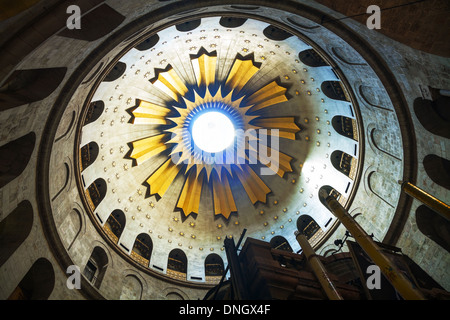 Interior of the Church of Holy Sepulchre in Jerusalem. - Stock Photo