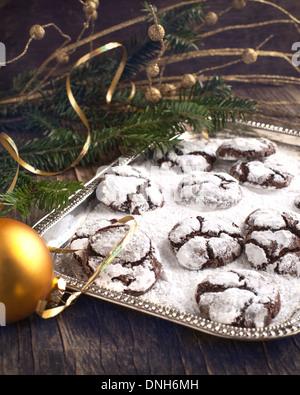 Chocolate Crinkles. Chocolate cookies in powdered sugar. - Stock Photo